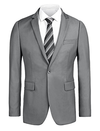 One Button Single Breasted Suit - Misakia Men's Solid Blazer Jacket Casual Business Long Sleeve One Button Slim Fit Suits Single Breasted Sport Coat (Gray M)