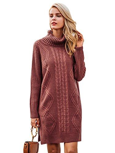 Simplee Women's Winter Warm Oversized Turtleneck Long Pullover Sweater Dress Rust One Size