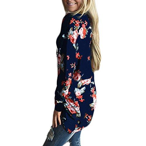 Kimono Longues Printemps Veste Bleu Casual Fleur Cardigan Automne Imprim Femme Manches Manteau Chemisier PHxqp6