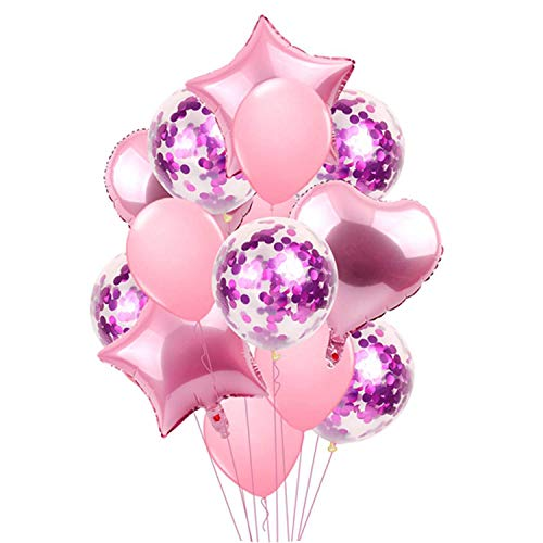 Noon-Sunshine decorative-plaques 14PCS Mixed Pink Birthday Balloon Blueations,14pcs Pink Set ()