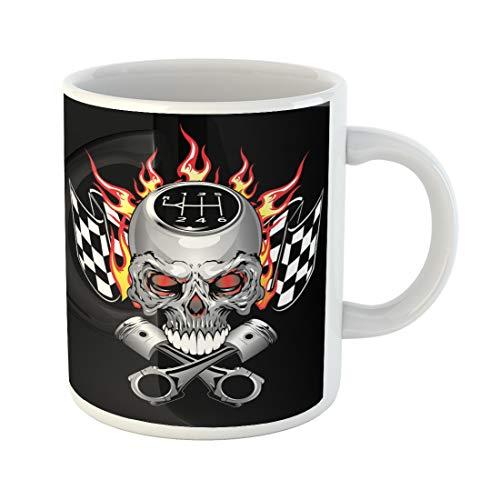 Semtomn Funny Coffee Mug Car Race Skull Piston Decal Flame Graphic Cross Fire Evil 11 Oz Ceramic Coffee Mugs Tea Cup Best Gift Or -