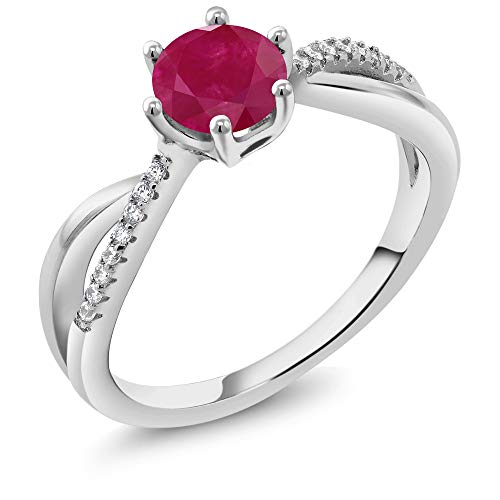 Gem Stone King Red Ruby Gemstone Birthstone 925 Sterling Silver Women's Ring (1.24 Cttw Round Available 5,6,7,8,9) (Size 6)