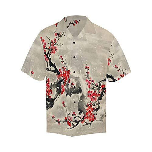 (InterestPrint Men Short Sleeve Plum Blossom Chinese Painting Shirts Short Sleeve Hawaiian Tops XL )