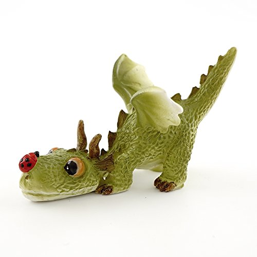 Top Collection 4414 Miniature Fairy Garden & Terrarium Mini Dragon Playing with Ladybug Statue, Small