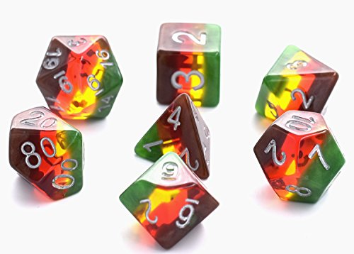 Hengda dice Polyhedral Dice Sets D&D Role Playing for Dungeons and Dragons DND RPG MTG Gaming Dice Including Pouch ( Brown Translucent)