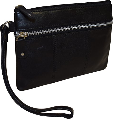 London Stitch Women's Genuine Leather Wristlet Clutch Organizer Pouch (Black)