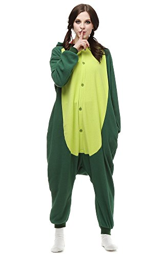 Men Try On Women's Halloween Costumes (Famycos Unisex Animal School Cosplay One-piece Pyjamas Hooded for Women Men Kids Green Dinosaur Adult-XL)