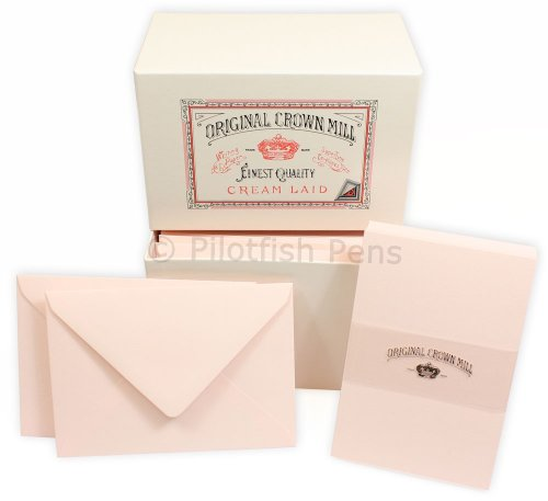 Crown Mill Luxury Letter Writing Card Stationery Set Box. Correspondence Cards. Pink (Crown Stationery)