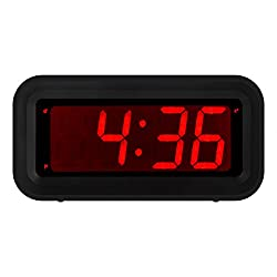 Kwanwa LED Digital Alarm Clock Battery Powered Only Small for Bedrooms/ Wall/Travel With Constantly Big Red Digits Display
