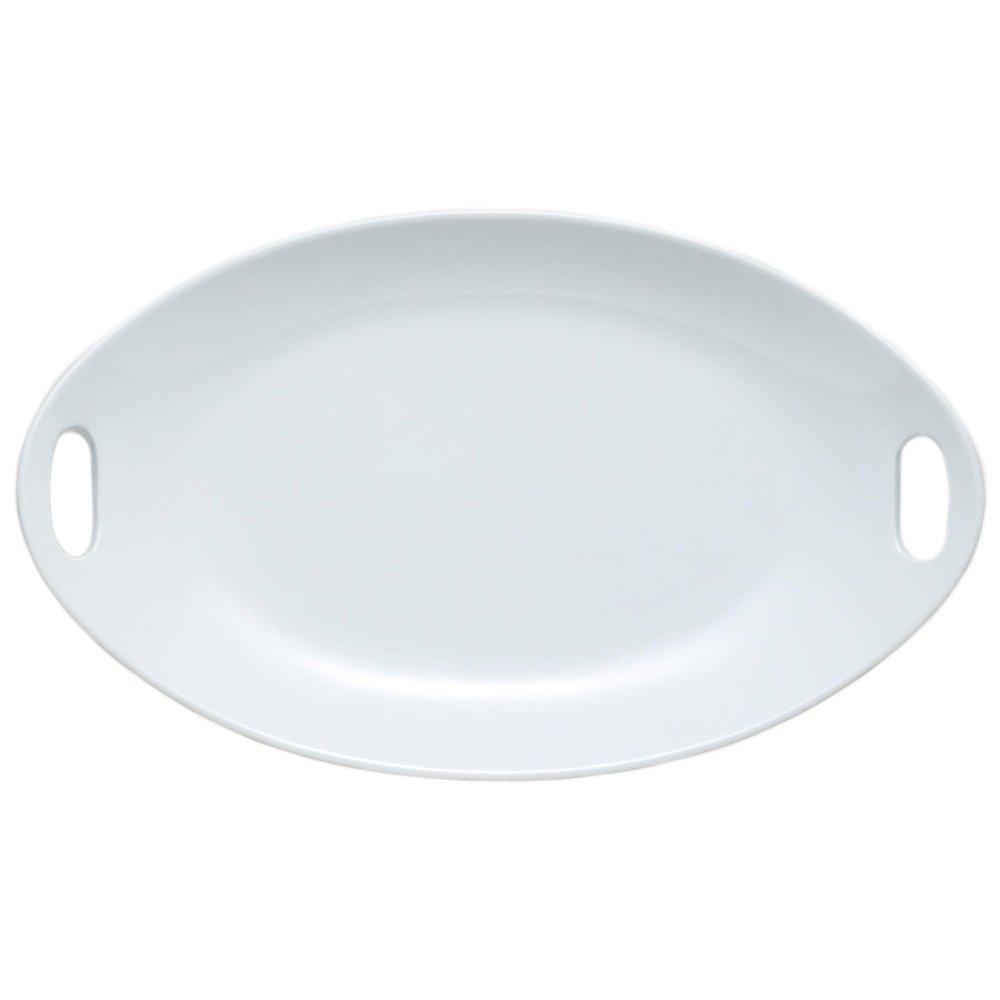 "17.25"" Large Crisp White Porcelain Oval Platter with Handles"