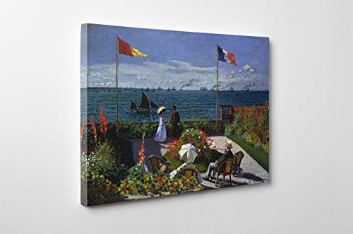 Niwo Art (TM - Garden at Sainte-Adresse, by Claude Monet - Oil Painting Reproductions - Giclee Canvas Prints Wall Art for Home Decor, Stretched and Framed Ready to Hang