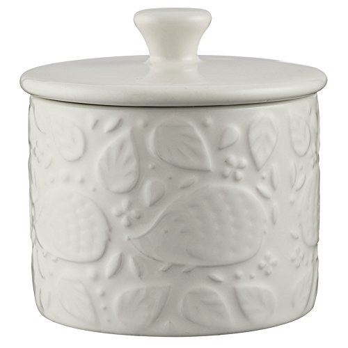 Mason Cash In the Forest Sugar Pot With Lid, Durable Stoneware Construction, Intricate Embossed Design, 8-Fluid Ounces, Dishwasher Safe, (Ceramic Sugar Dish)
