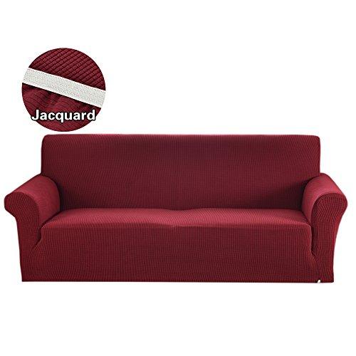Argstar Jacquard Love Seat Slipcover Soft Elastic Wine Red by Argstar