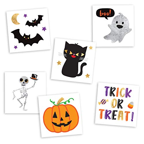 Cute Halloween Tattoo Flash (Flash Tattoos CUTE N SPOOKY VARIETY SET of 30 assorted Halloween-inspired premium waterproof metallic gold & silver jewelry temporary foil party tattoos - Party Supplies, gold tattoo, bat,)