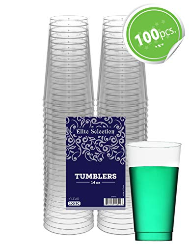 Clear Disposable Plastic Cups 14 Oz. Pack Of (100) Fancy Hard Plastic Cups - Party Accessories - Wedding - Cocktails- Tumblers]()