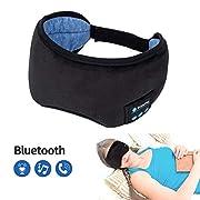 #LightningDeal Bluetooth Sleeping Eye Mask Wireless Headphone, Voerou Adjustable Music Sleep Eye Shades with Built-in Speakers Microphone Handsfree Washable Perfect for Air Travel,Siesta and Sleeping(Black)