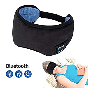 Voerou Sleep Headphones Wireless Bluetooth Sleep Eye Mask Music and Ultra Thin Speakers Perfect for Sleeping, Air Travel,Meditation and Relaxation – Black