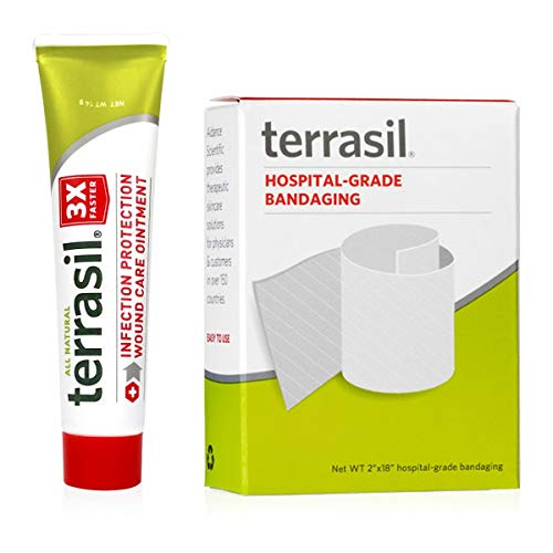 Terrasil® Wound Care - 3X Faster Healing, Dr. Recommended, Infection Protection Ointment for Bed sores, Pressure sores, Diabetic Wounds, ulcers, cuts, scrapes, and Burns (14g with Bandage) ()
