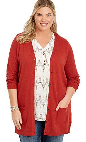 maurices Women's Plus Size Solid Button Down Boyfriend Cardigan 2 Garnet Rose (Maurices Tunic Sweater)