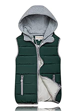 BOZEVON Women Winter Gilet - Hooded Full Zipper Tops Sleeveless Down Jacket Coat Vest Outwear with Pocket,Green,US M=Tag L