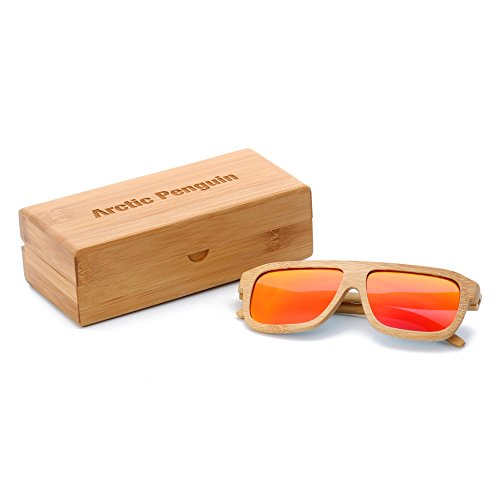 Arctic Penguin Bamboo Wood Polarized Wayfarer Sunglasses For Men and Women With Bamboo Box (Bamboo, - Tint Sunglasses Wayfarer Dark