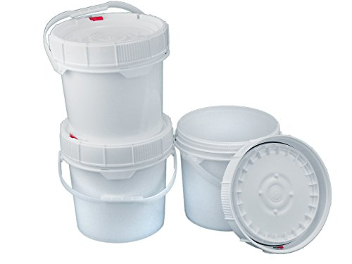 3 Screw Top 90 mil Buckets - 3.5 Gallon, White (Dimensions 5 Gallon Bucket)