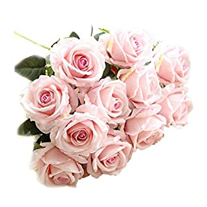 Crt Gucy Artificial Flowers Long Stem Silk Rose Flower Bouquet Wedding Party Home Decor, Pack of 6 (Light Pink) 7
