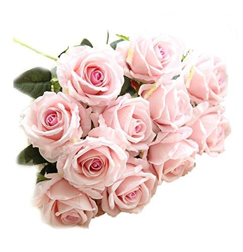 Crt Gucy Artificial Flowers Long Stem Silk Rose Flower Bouquet Wedding Party Home Decor, Pack of 6 (Light Pink)