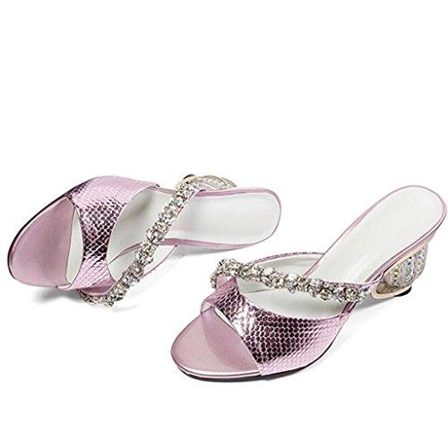 Rose Chaussures À Talons Mode Crystal Toe Femme Moyens Open Pantoufles Été Sandales Talons Diamond qdYxgOYX