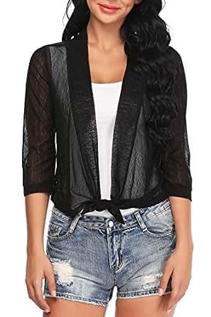 Aranmei Womens Sheer Shrug Cardigan Tie Front 3/4 Sleeve Bolero Jacket(Black, Small)