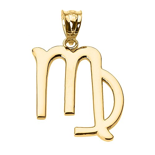 - Personalized 14k Yellow Gold Virgo Zodiac Sign Charm Pendant