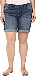 KUT from the Kloth Women's Plus Size Catherine Boyfriend Roll Up Shorts in Teamwork Teamwork Shorts