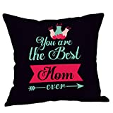 KNDDY Mother's Day Pillow Case Sofa Bed Home Decor Cushion Cover Flax (A)