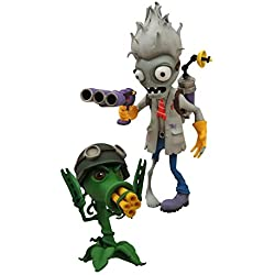 Diamond Select Toys Plants vs. Zombies: Garden Warfare: Scientist Zombie with Healing Station and Gatling Pea Shooter with Chili Bean Select Action Figure (2-Pack)