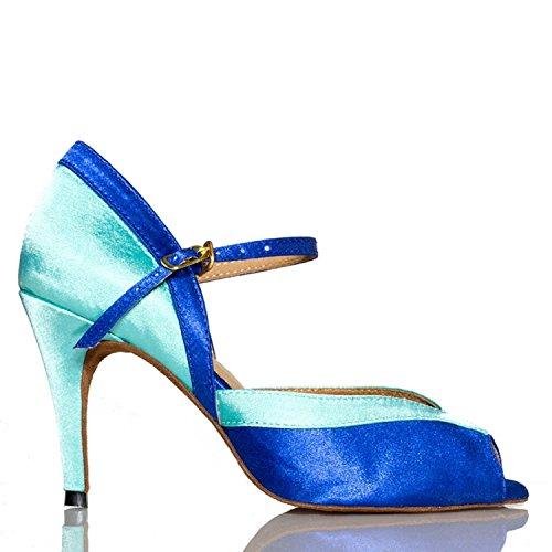 Miyoopark ,  Damen Tanzschuhe , blau - Blue-8.5cm heel - Größe: 35