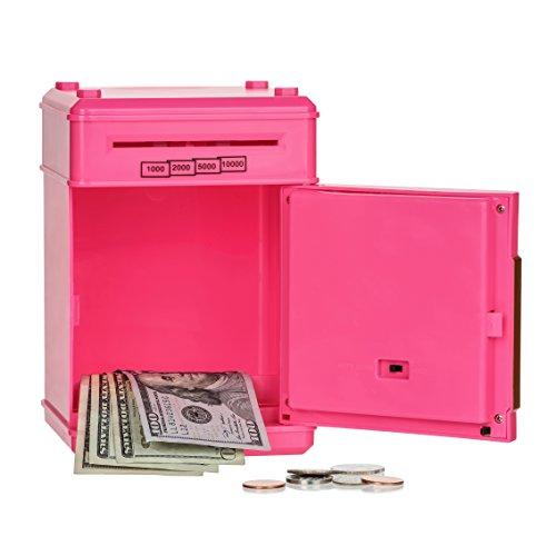 Stylebeauty Electronic Password Piggy Bank Cash Coin Can Money Locker Auto Insert Bills Safe Box Password ATM Bank Saver Birthday Gifts for Kids PINK