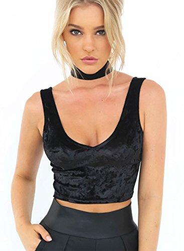 Azbro Mujer Camisola Terciopelo Cuello V sin Mangas de Color Sólido Negro