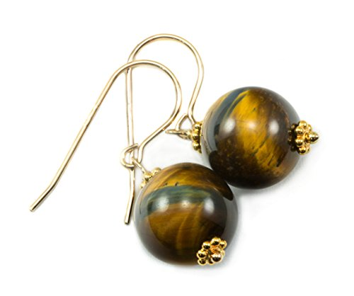 Gold Tiger Yellow Round (14k Gold Filled Tiger's Eye Earrings Golden Yellow Round Drops Beaded Accents)