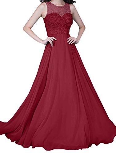 Perlen mit Zahlreichen Dunkel Damen Rot Festlichkleider Chiffon Charmant Ballkleider Lang Linie Abendkleider A aBqwfx8vg