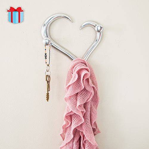 Modern Style Heart Shaped Decorative Wall Coat Hanger by Comfify | Hand-Cast Aluminum Wall Mounted Coat Rack, Hat Hanger, Antique Hooks, Key Holder | Includes Screws and Anchors (Heart AL-1507-16)