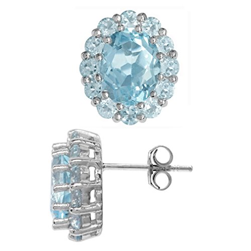 6.44ct. Genuine Blue Topaz White Gold Plated 925 Sterling Silver Flower Cluster Post Earrings