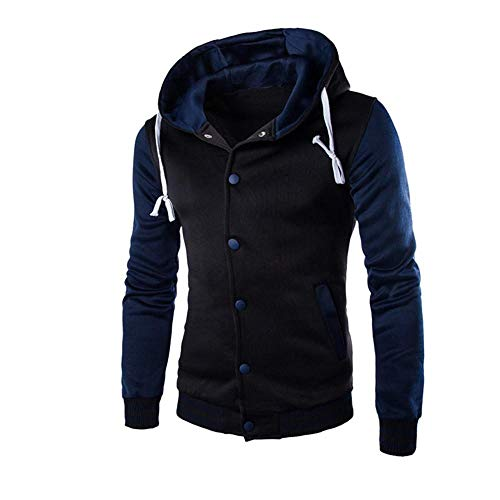 HGWXX7 Men's Hooded Sweatshirt Warm Slim Button Coat Jacket Tops Cardigan Outwear Hoodie(Navy,2XL)