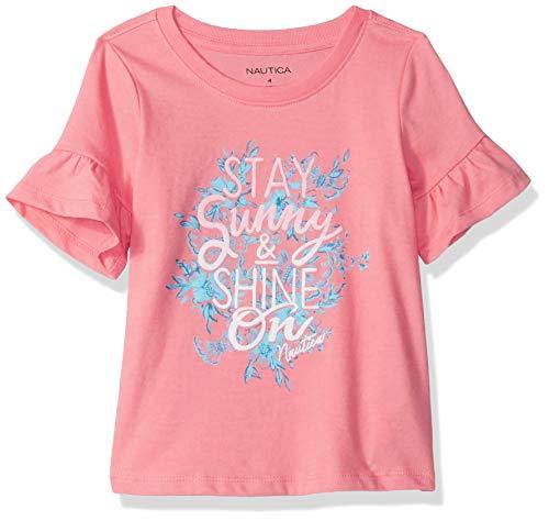 (Nautica Girls' Little Short Sleeve Graphic Tee, Salmon Shine 6)