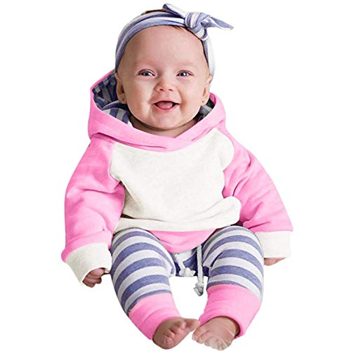 Baby Boys Girls Clothes Long Sleeve Hoodie Tops Sweatsuit Long Pants Outfit Set (Hot Pink, 6-12 Months) ()