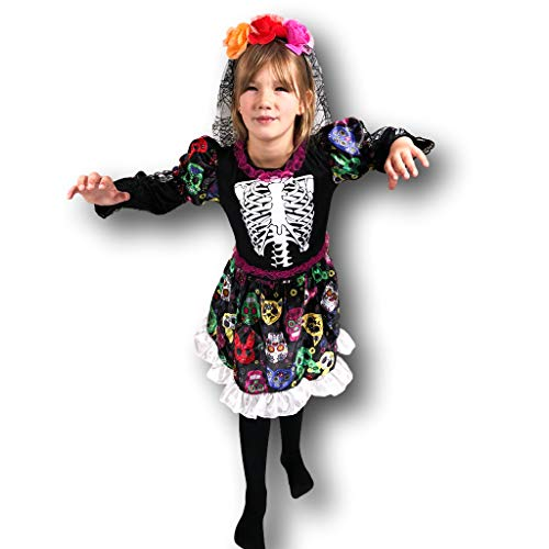 Rubber Johnnies Day of The Dead Skeleton Bride Costume, Kids, 2 -
