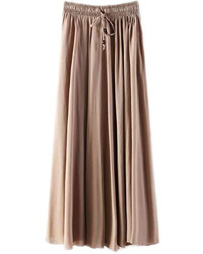 Jupes Femme Longue Haute Taille Casual Pliss Maxi Jupe de Plage Caf