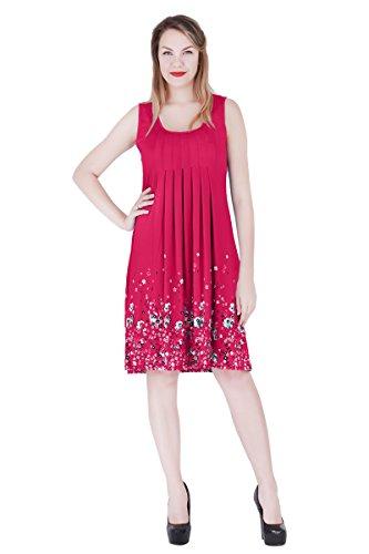 YMing Women's Print Pleated Sleeveless Sundress A-Line Beach Dresses Rose 2XL Pink Flowered Sleeveless Dress