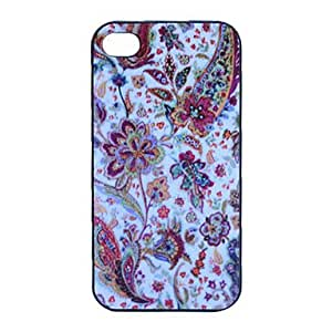 Abstract Flower Graphic Grind Arenaceous Plastic Back Case for iPhone 4/4S