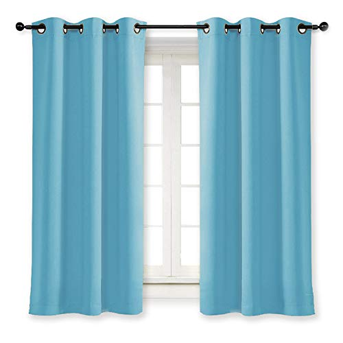 NICETOWN Kitchen Blackout Window Curtain Panel Home Fashion Thermal Insulated Solid Grommet Room Darkening Drape for Apartment (Teal Blue, 1 Panel, 42 by 63 inches Long)