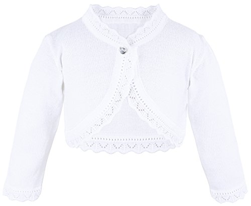 (Lilax Baby Girls' Knit Long Sleeve Button Closure Bolero Cardigan Shrug 12-18 Months White)